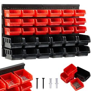 AREBOS Wall Rack With Stacking Boxes Set of 32 Storage Bins Tool Board Panel Box