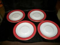 Lot of 4 Vintage Pyrex Flamingo Pink / Gold Band Saucers 1950's Mid Century