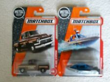 '57 GMC PICK UP TRUCK 2 MATCHBOX 1957 LONG CARDS BROWN SHERIFF & POLICE BOAT