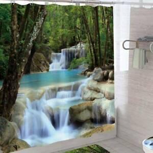 Shower Curtain Natural Scenery Printed Waterproof Hooks Bathroom Bath Decoration