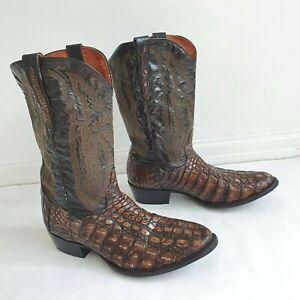 DAN POST Genuine Caiman Leather Vintage Mens Brown Cowboy Boots New Heels 11