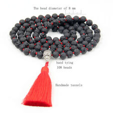8mm Black Volcano Stone Tibet Buddhist 108 Prayer Beads Mala Necklace