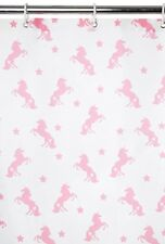 *NEW* Shower Curtain Waterproof Printed Pink Unicorn Hook Ring Bathroom Polyster