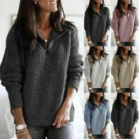 Sleeve Jumper Knitted Womens Pullover Sweatshirt Ladies Long Zipper Sweater Tops