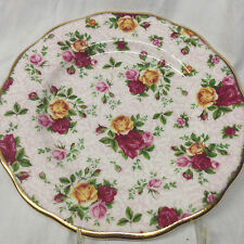 """ROYAL ALBERT 2002 OLD COUNTRY ROSES SOFT PINK LACE SALAD PLATE 8"""" GOLD TRIM"""