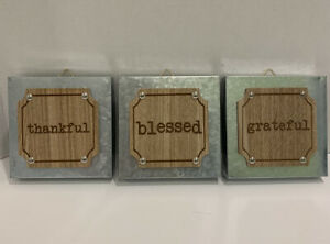 """Metal Wall Art Modern Silver Accent and Wood 5"""" Squares Home Decor Blessed"""