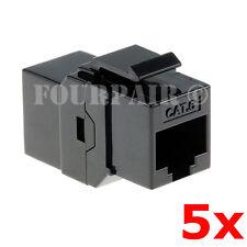 5 Pack - CAT6 Inline Coupler Keystone RJ45 Female Snap-In Jack Insert - Black