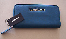BEBE SHERINE VINTAGE NAVY WALLET ZIP AROUND STYLE 9PU627PE NEW FAUX LEATHER