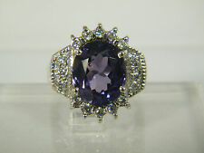 RING: SIZE 7, AAA BLUE/PURPLE SPINEL (12X16MM) WH SAPPHIRE 925 STERLING SILVER