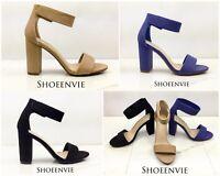New Women Elton Open Toe Ankle Strap Single Band Chunky Heel Dress Sandal