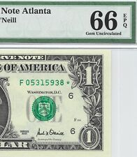 2001 $1 ATLANTA * STAR * 🌟 FRN, PMG GEM UNCIRCULATED 66 EPQ BANKNOTE, DC