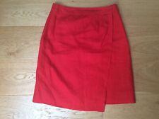 Jolie jupe rouge portefeuille en lin neuve CAROLL 36
