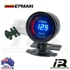 "52mm Volts Voltage Gauge 2"" Epman Racing Smoked Digital Color Analog"