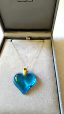 PENDANT LALIQUE LRG  HEART ON 9CT GOLD CHAIN FRESH  REALLY STUNNING  VIVID BLUE