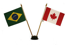 """CANADA & BRASIL 4"""" X 6"""" DOUBLE STICK FLAG WITH BLACK STAND ON 10"""" PLASTIC POLE"""