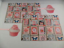 SHABBY CHIC CUPCAKES STAMP CUP CAKE TEA FLORAL PINK GIFT BIRTHDAY WRAPPING PAPER