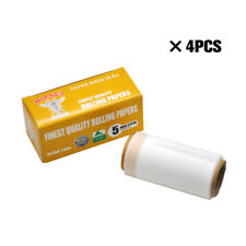 4X Natural UNREFINED ORGANIC Thin Cigarette Rolling papers 44MM*5Meters Big Size