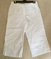 M&S size 12 white linen mix cropped lightweight trousers