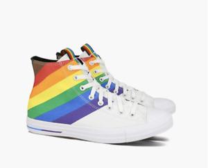 Converse Pride Chuck Taylor Uni Sex Hi Top Mens 8.5 rainbow striped LGBTQ gay
