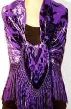 Silk Piano Shawl Wrap Scarf Burnout Velvet Purple Maya Shawl