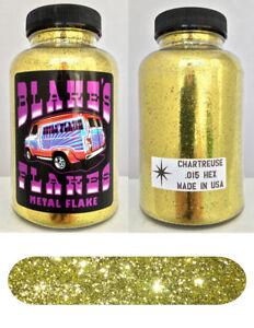 Blakes Metal Flake .015 Chartreuse Gold  Hot Rod custom automotive 5oz jar