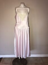 Vintage Pink Satin White Lace Nightgown Spaghetti Strap Sissy Nighty Size Small