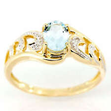 Natural Aquamarine Solitaire with Accents Fine Rings