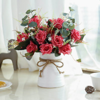 YILIYAJIA Artificial Rose Bouquets with Ceramics Vase Fake Silk Rose Flowers