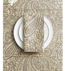 New Waterford Esmerelda 4 Napkins Fine Linens Gold