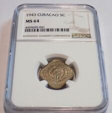 CURACAO 1943 Dutch WII Colonial 5 Cent .05 NGC MS64 MS 64 Certified Slab Coin