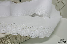"""14Yds Broderie Anglaise cotton eyelet lace trim 2.5"""" white YH865 laceking2013"""