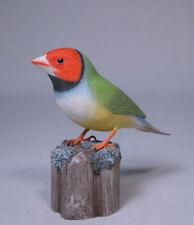 Gouldian Finches White-breast Bird Carving/Birdhug