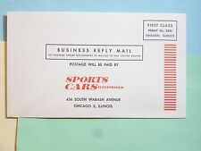 STAMP 1970c SPORTS CARS ILLUSTRATED BUSINESS REPLY ENVELOPE VINTAGE