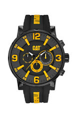 Mens Caterpillar Bold CAT NJ16921137 Black Rubber Yellow Accent Date Sport Watch