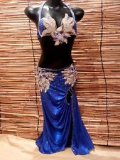 Egyptian Belly Dance Costume bra & Skirt Professional Dancing Blue Silver