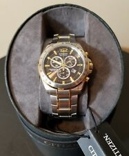 Mens Citizen Eco Drive Watch Chronograph Silver Gold Tone Stainless Steel $325