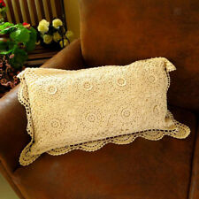Hand Crocheted Beige Pillow Case Lace Embroidered Pillow Cover Cushion Cover