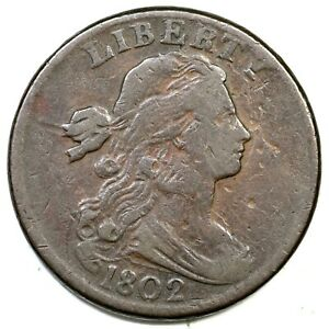 1802 S-231 Stemless Draped Bust Large Cent Coin 1c