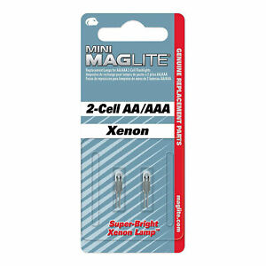 Genuine Mini Maglite replacement bulbs. AA + AAA 2 cell bulbs - Mag lite Sealed