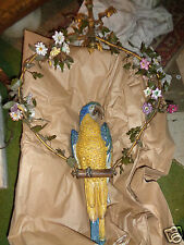 ANTIQUE FRENCH HAND PAINTED PARROT PORCELAIN FLOWERS HANGING CHANDELIER LIGHT
