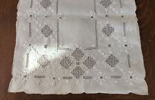 Antique Hand Embroidered Lefkara Lace Table Runner 41� X 16� Off White