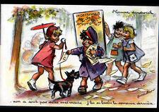 IMAGE pour DESSOUS de VERRE / HOMME SANDWICH & ENFANT, illustrée Germaine BOURET