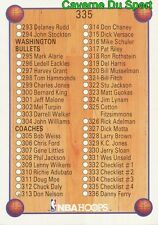 335 CHECK LIST CARD CARTE BASKETBALL NBA HOOPS 1990
