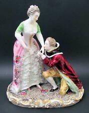 "Antique HP 11.5"" Dresden Style Bourdois Bloch Paris Lovers Group Figurine 1887"