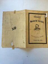 General Ulysses S Grant Funeral Brosure 1885 Historical Memorabilia President