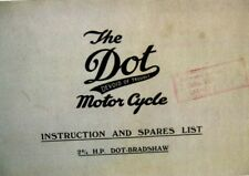 1924 The DOT Bradshaw  Motor Cycle Instruction & Spare Parts List For  2 3/4 HP