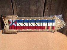 """Mississippi State Flag This Way To Arrow Sign Novelty Metal 17"""" x 5"""""""