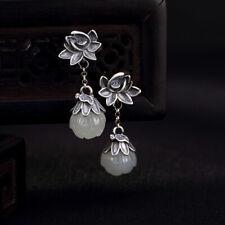 a pair vintage silver white nephrite jade lotus flower dangle earrings