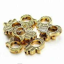 10Pcs Gold Plated Hamsa Hand Palm Hand Spacer Beads Fit Bracelet 13x15mm