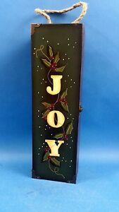 Natural Wood Vintage Shabby Style JOY Wine Bottle Box / Case for 1 Bottle